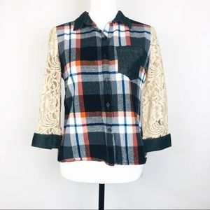 Billy by Flying Tomato Plaid Button Down w/Lace M